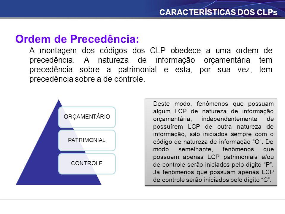 CARACTERÍSTICAS DOS CLPs Ordem de Precedência: A montagem dos códigos dos CLP obedece a uma ordem de precedência. A natureza de informação orçamentári