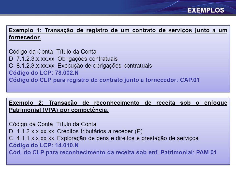 EXEMPLOS Exemplo 2: Transação de reconhecimento de receita sob o enfoque Patrimonial (VPA) por competência. Código da Conta Título da Conta D 1.1.2.x.