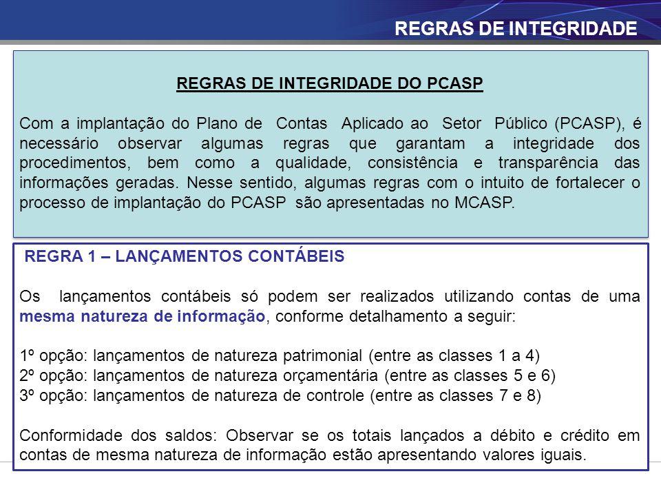 REGRAS DE INTEGRIDADE REGRAS DE INTEGRIDADE DO PCASP Com a implantação do Plano de Contas Aplicado ao Setor Público (PCASP), é necessário observar alg
