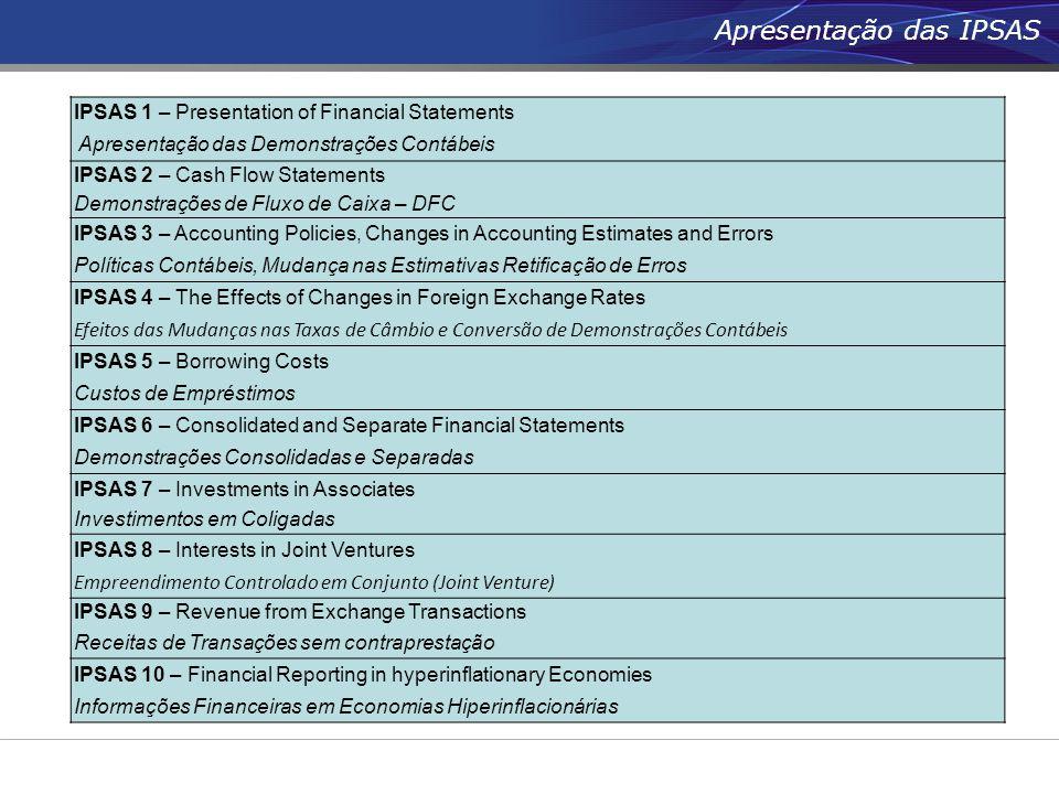 Apresentação das IPSAS IPSAS 1 – Presentation of Financial Statements Apresentação das Demonstrações Contábeis IPSAS 2 – Cash Flow Statements Demonstr