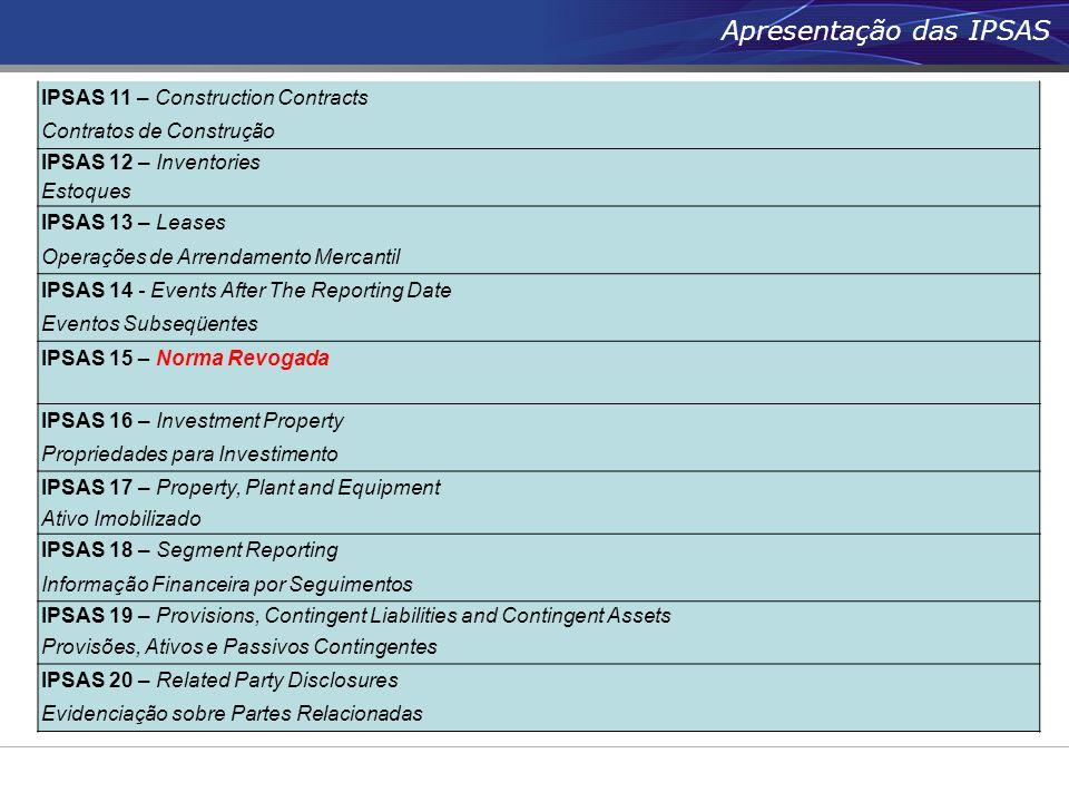 IPSAS 11 – Construction Contracts Contratos de Construção IPSAS 12 – Inventories Estoques IPSAS 13 – Leases Operações de Arrendamento Mercantil IPSAS