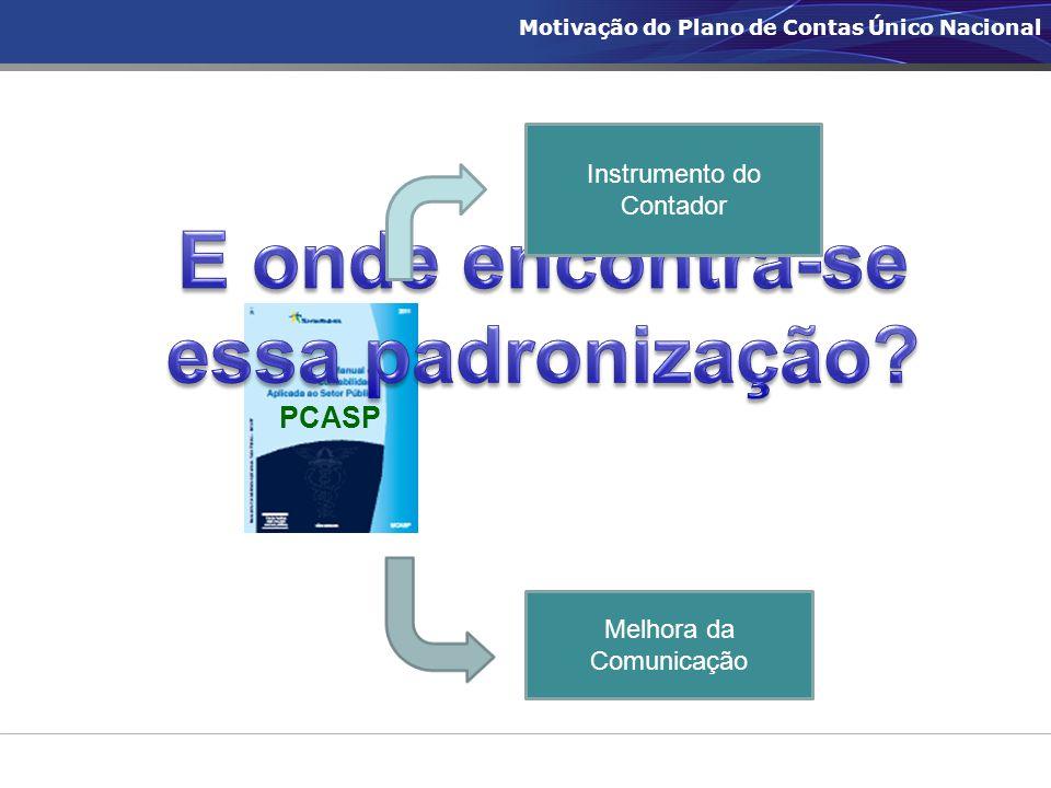Instrumento do Contador PCASP Melhora da Comunicação Motivação do Plano de Contas Único Nacional