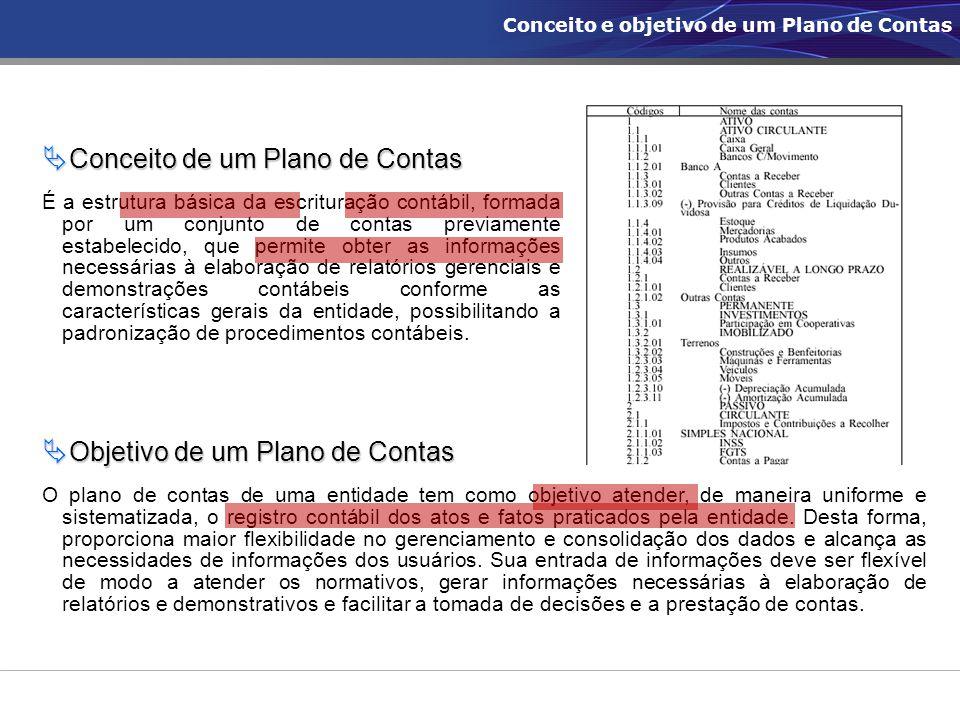  Objetivo de um Plano de Contas O plano de contas de uma entidade tem como objetivo atender, de maneira uniforme e sistematizada, o registro contábil