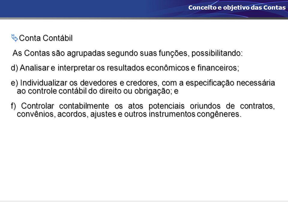  Conta Contábil As Contas são agrupadas segundo suas funções, possibilitando: As Contas são agrupadas segundo suas funções, possibilitando: d) Analis