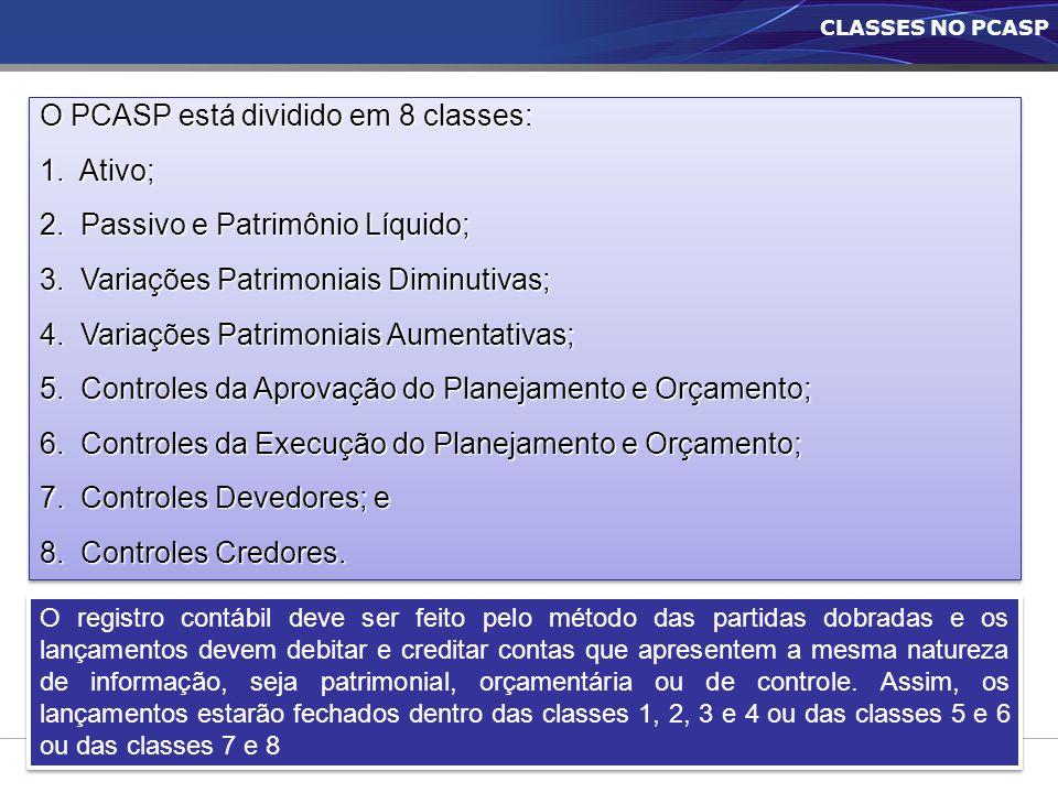 CLASSES NO PCASP O PCASP está dividido em 8 classes: 1. Ativo; 2. Passivo e Patrimônio Líquido; 3. Variações Patrimoniais Diminutivas; 4. Variações Pa