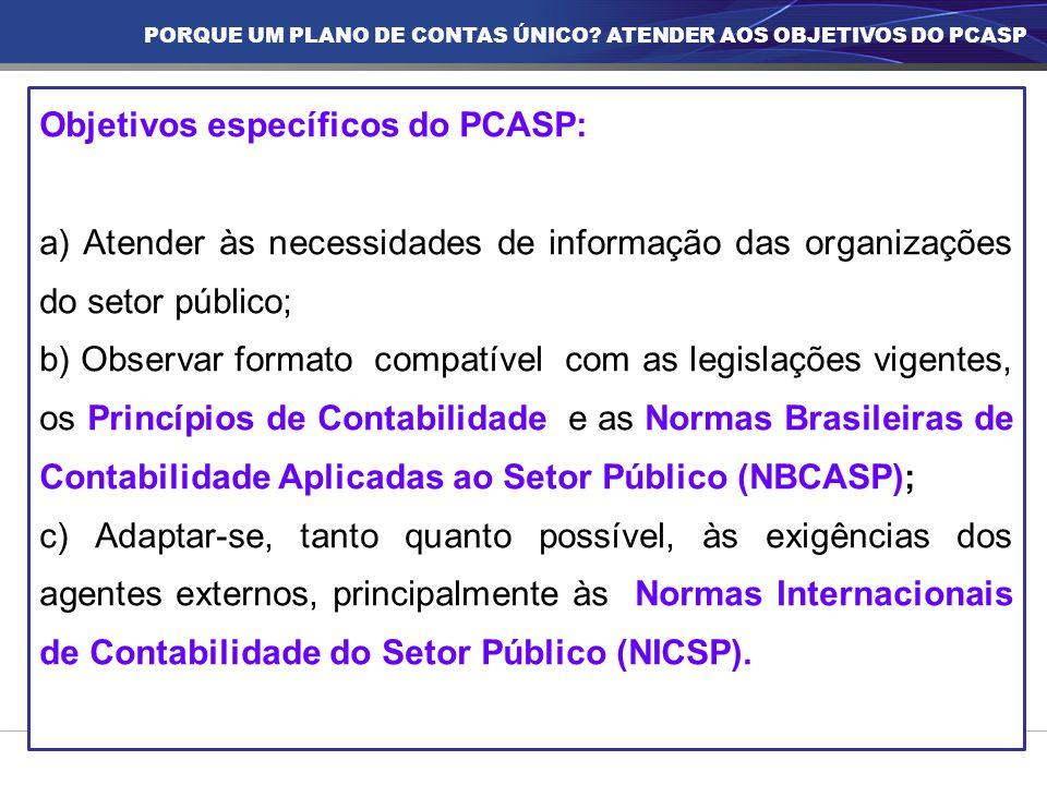 Objetivos específicos do PCASP: a) Atender às necessidades de informação das organizações do setor público; b) Observar formato compatível com as legi