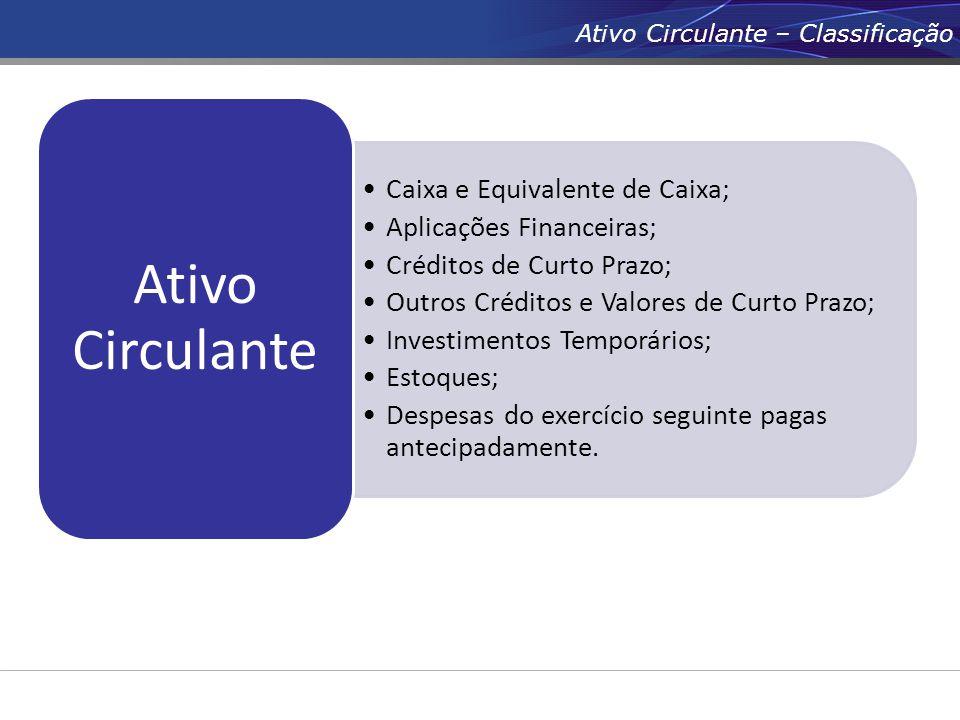 Ativo Circulante – Classificação Caixa e Equivalente de Caixa; Aplicações Financeiras; Créditos de Curto Prazo; Outros Créditos e Valores de Curto Pra