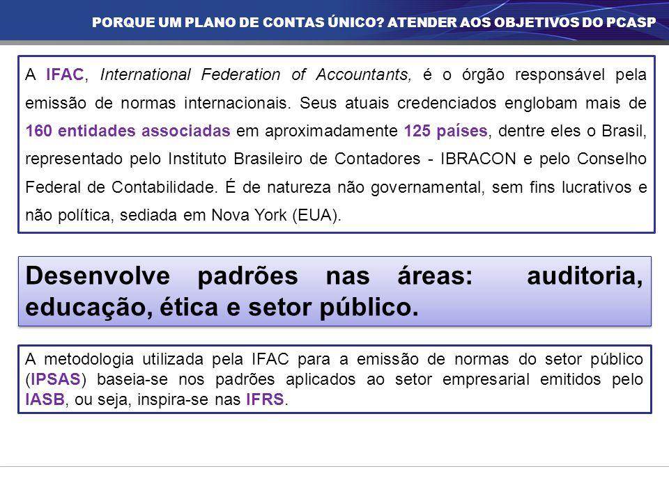 A IFAC, International Federation of Accountants, é o órgão responsável pela emissão de normas internacionais. Seus atuais credenciados englobam mais d