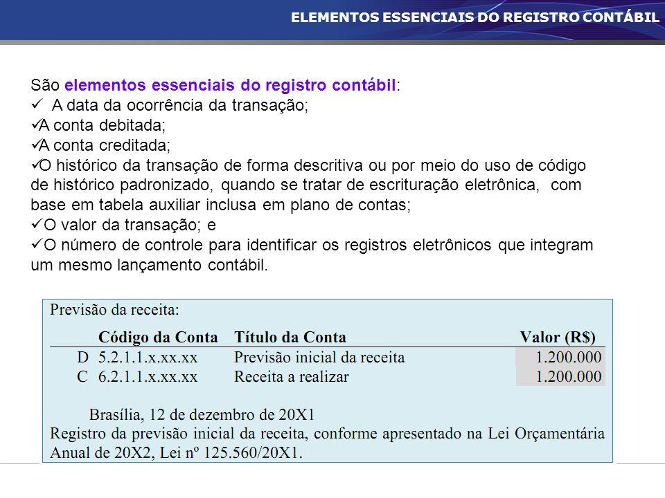ELEMENTOS ESSENCIAIS DO REGISTRO CONTÁBIL São elementos essenciais do registro contábil: A data da ocorrência da transação; A conta debitada; A conta