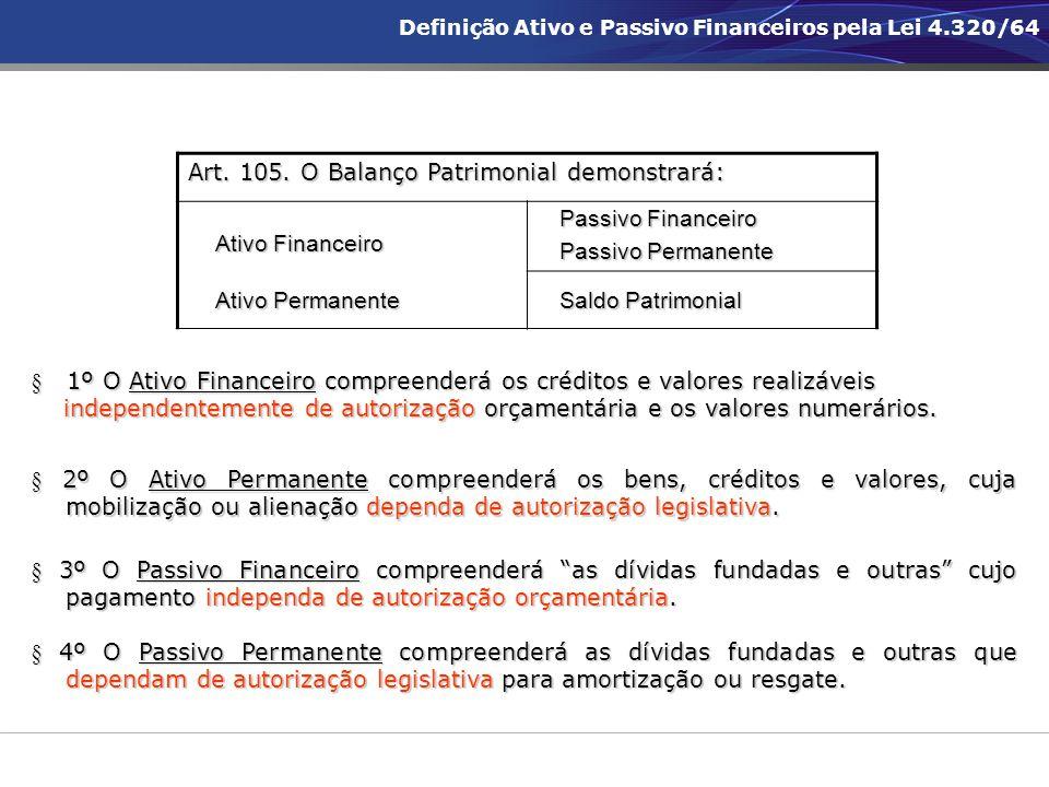 § 1º O Ativo Financeiro compreenderá os créditos e valores realizáveis independentemente de autorização orçamentária e os valores numerários. independ
