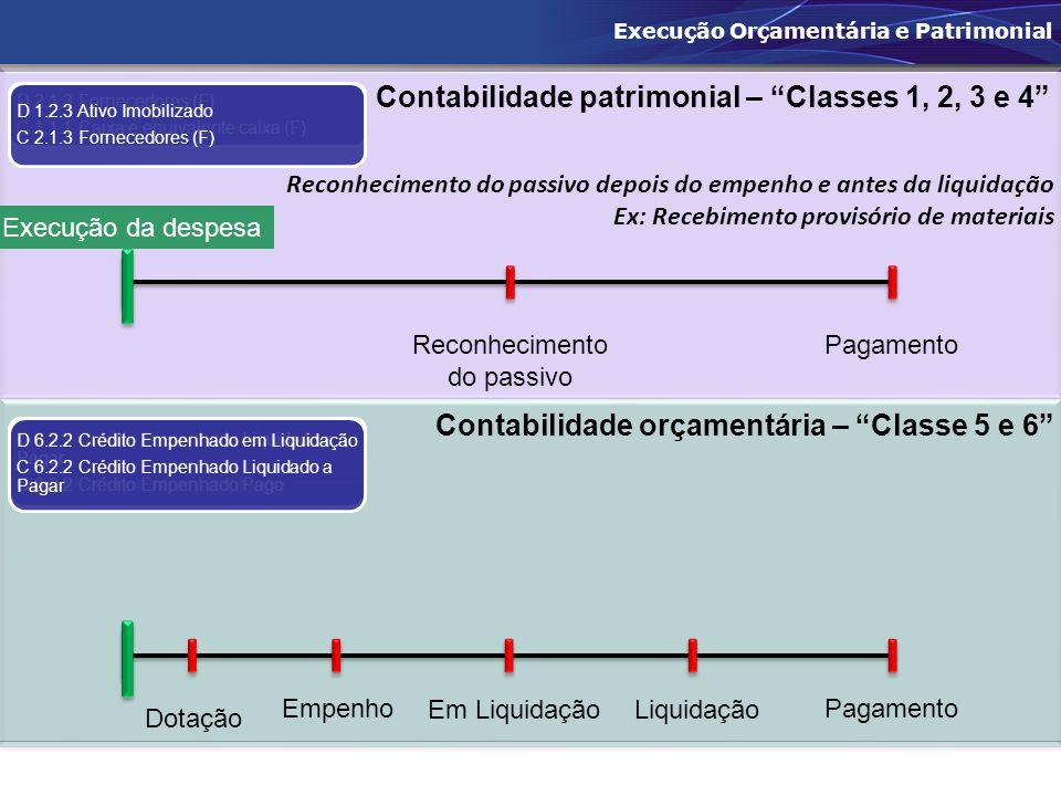 """Reconhecimento do passivo depois do empenho e antes da liquidação Ex: Recebimento provisório de materiais Contabilidade patrimonial – """"Classes 1, 2, 3"""