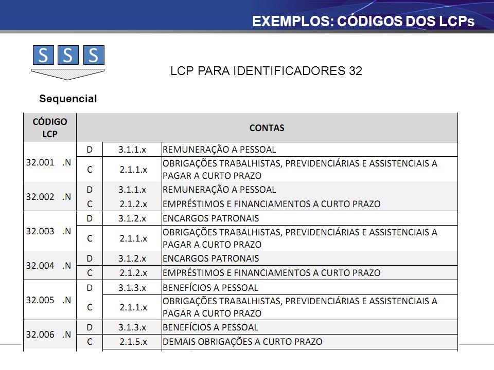 SSS Sequencial LCP PARA IDENTIFICADORES 32 EXEMPLOS: CÓDIGOS DOS LCPs