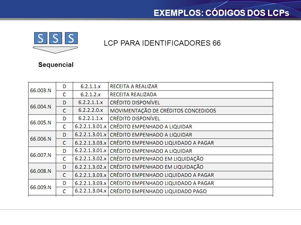 SSS Sequencial LCP PARA IDENTIFICADORES 66 EXEMPLOS: CÓDIGOS DOS LCPs