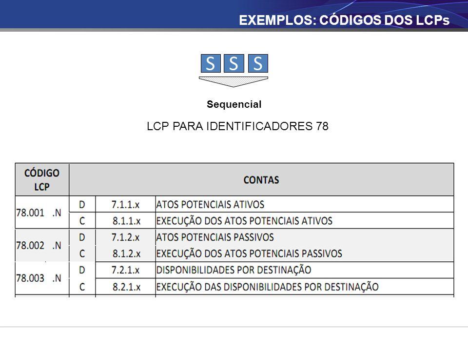 SSS Sequencial LCP PARA IDENTIFICADORES 78 EXEMPLOS: CÓDIGOS DOS LCPs