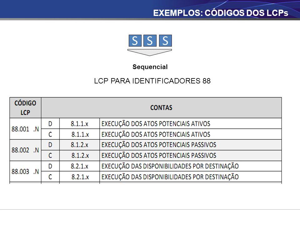 SSS Sequencial LCP PARA IDENTIFICADORES 88 EXEMPLOS: CÓDIGOS DOS LCPs