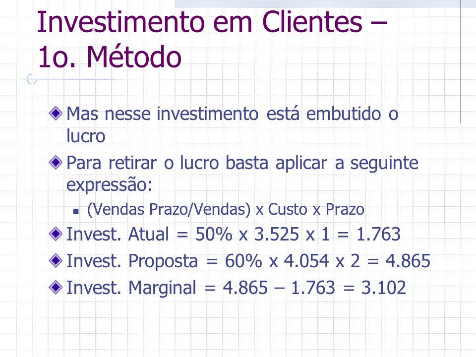 Investimento em Clientes – 1o. Método Mas nesse investimento está embutido o lucro Para retirar o lucro basta aplicar a seguinte expressão: (Vendas Pr