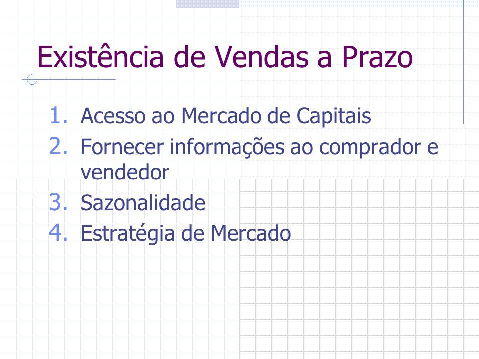 Existência de Vendas a Prazo 1. Acesso ao Mercado de Capitais 2. Fornecer informações ao comprador e vendedor 3. Sazonalidade 4. Estratégia de Mercado