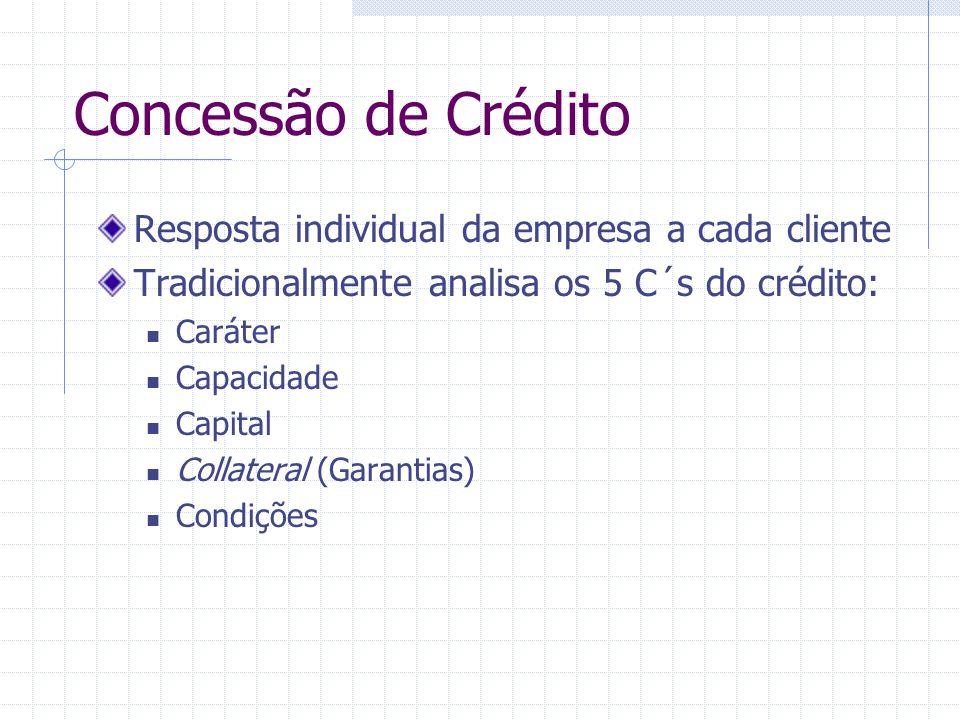 Concessão de Crédito Resposta individual da empresa a cada cliente Tradicionalmente analisa os 5 C´s do crédito: Caráter Capacidade Capital Collateral