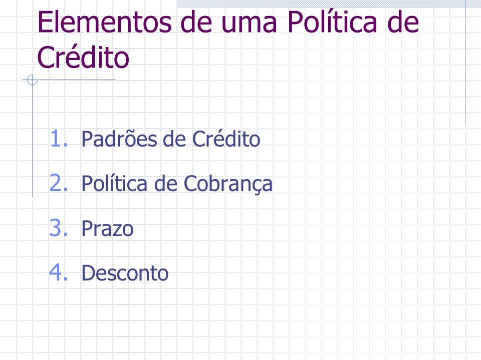 Elementos de uma Política de Crédito 1. Padrões de Crédito 2. Política de Cobrança 3. Prazo 4. Desconto