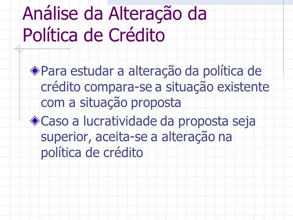 Análise da Alteração da Política de Crédito Para estudar a alteração da política de crédito compara-se a situação existente com a situação proposta Ca