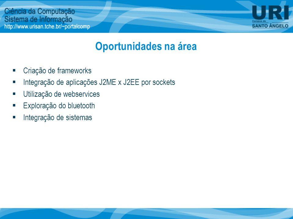 Oportunidades na área  Criação de frameworks  Integração de aplicações J2ME x J2EE por sockets  Utilização de webservices  Exploração do bluetooth  Integração de sistemas
