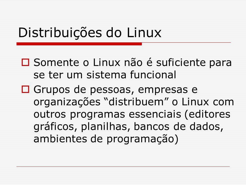 Distribuições do Linux  Somente o Linux não é suficiente para se ter um sistema funcional  Grupos de pessoas, empresas e organizações distribuem o Linux com outros programas essenciais (editores gráficos, planilhas, bancos de dados, ambientes de programação) 