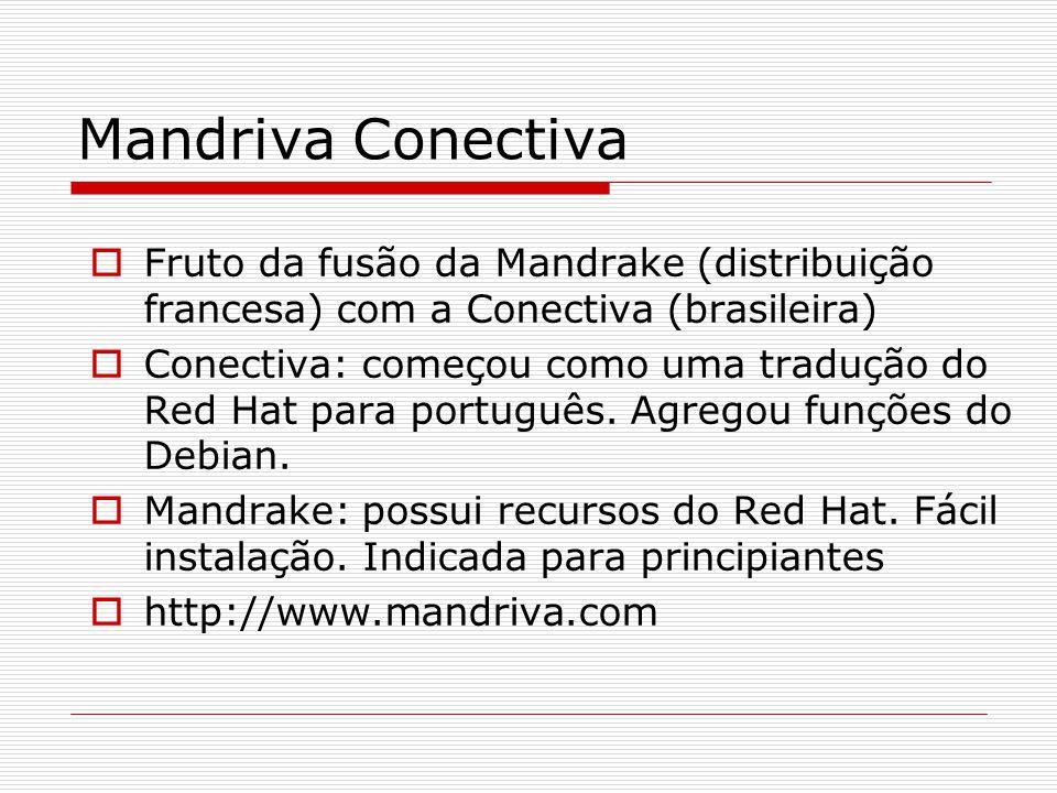 Mandriva Conectiva  Fruto da fusão da Mandrake (distribuição francesa) com a Conectiva (brasileira)  Conectiva: começou como uma tradução do Red Hat para português.