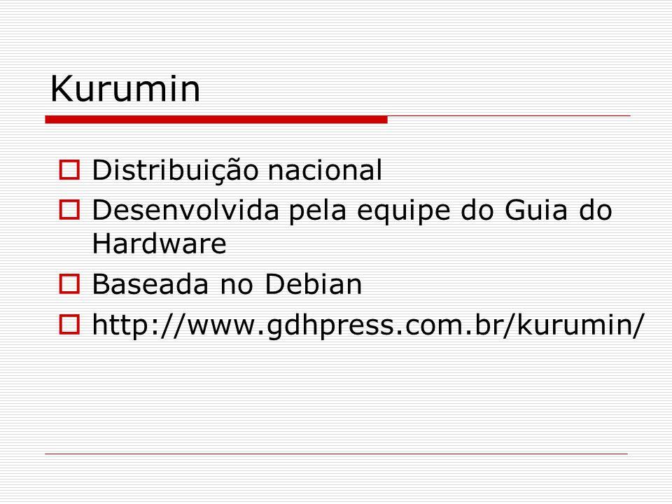 Kurumin  Distribuição nacional  Desenvolvida pela equipe do Guia do Hardware  Baseada no Debian  http://www.gdhpress.com.br/kurumin/
