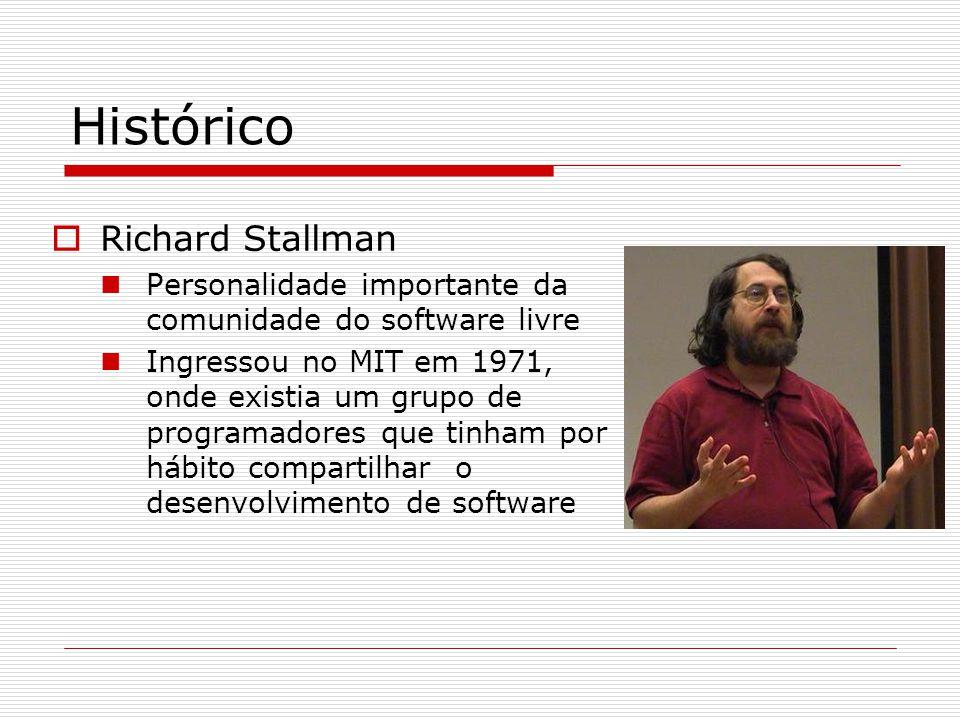 Histórico  Richard Stallman Personalidade importante da comunidade do software livre Ingressou no MIT em 1971, onde existia um grupo de programadores que tinham por hábito compartilhar o desenvolvimento de software