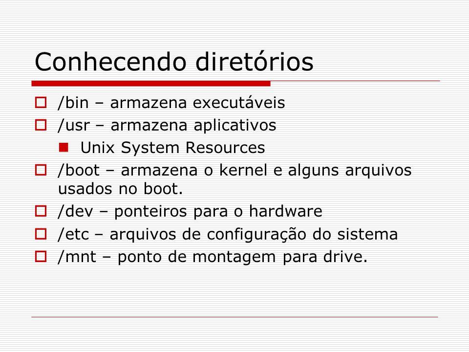 Conhecendo diretórios  /bin – armazena executáveis  /usr – armazena aplicativos Unix System Resources  /boot – armazena o kernel e alguns arquivos usados no boot.