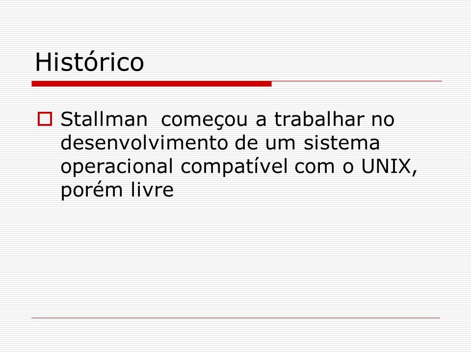 Histórico  Stallman começou a trabalhar no desenvolvimento de um sistema operacional compatível com o UNIX, porém livre