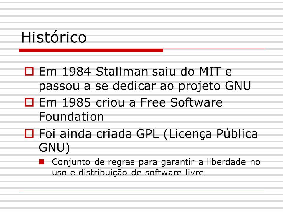 Histórico  Em 1984 Stallman saiu do MIT e passou a se dedicar ao projeto GNU  Em 1985 criou a Free Software Foundation  Foi ainda criada GPL (Licença Pública GNU)  Conjunto de regras para garantir a liberdade no uso e distribuição de software livre