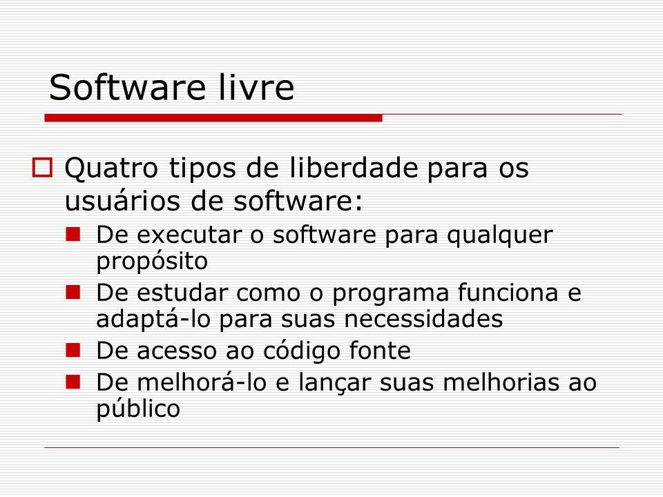 Software livre  Quatro tipos de liberdade para os usuários de software: De executar o software para qualquer propósito De estudar como o programa funciona e adaptá-lo para suas necessidades De acesso ao código fonte De melhorá-lo e lançar suas melhorias ao público