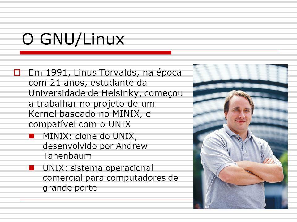 O GNU/Linux  Em 1991, Linus Torvalds, na época com 21 anos, estudante da Universidade de Helsinky, começou a trabalhar no projeto de um Kernel baseado no MINIX, e compatível com o UNIX MINIX: clone do UNIX, desenvolvido por Andrew Tanenbaum UNIX: sistema operacional comercial para computadores de grande porte