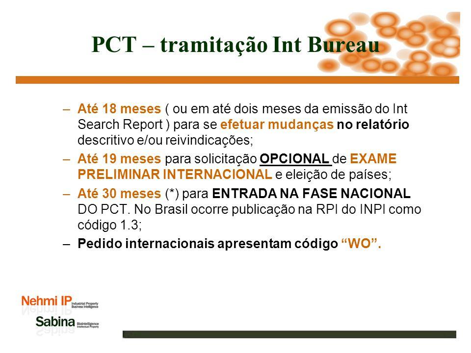 PCT – Patent Cooperation Treaty Brasil é signatário desde 09 de abril de 1978; PCT site: www.wipo.int ( World Intellectual Property Organization ou OMPI ); Etapas do processo: –Depósito direto junto ao INPI ou em até 12 meses da data de prioridade mais antiga; –Em até 16 meses ( todos os prazos contados da data de prioridade mais antiga ), publica-se o INTERNATIONAL SEARCH REPORT; –Em até 17 meses pode-se solicitar a retirado do pedido e interrupção da publicação na Gazette do PCT;