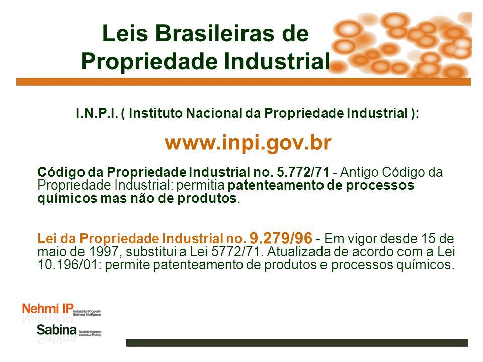 Leis Brasileiras de Propriedade Industrial I.N.P.I.