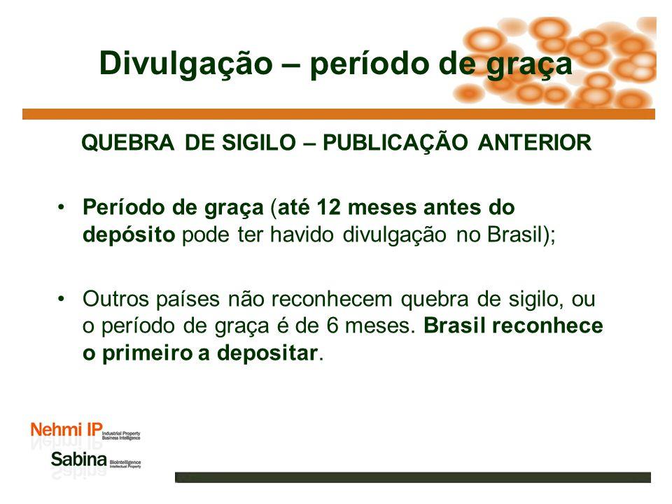 Divulgação – período de graça QUEBRA DE SIGILO – PUBLICAÇÃO ANTERIOR Período de graça (até 12 meses antes do depósito pode ter havido divulgação no Brasil); Outros países não reconhecem quebra de sigilo, ou o período de graça é de 6 meses.