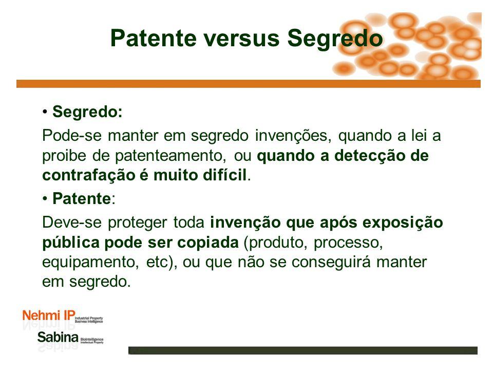 Patente versus Segredo Segredo: Pode-se manter em segredo invenções, quando a lei a proibe de patenteamento, ou quando a detecção de contrafação é muito difícil.