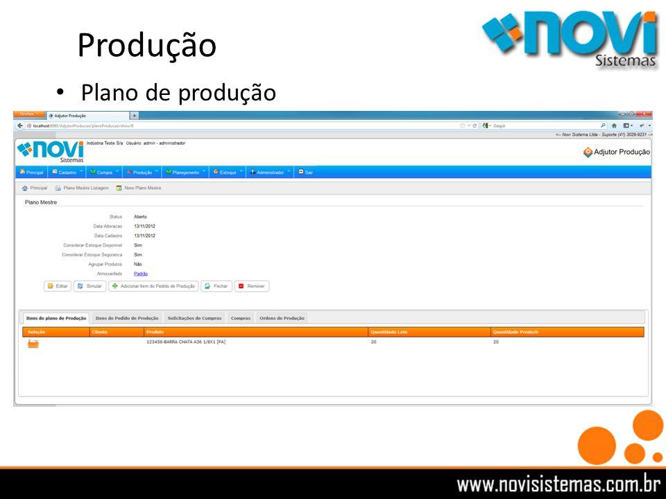 Produção Plano de produção