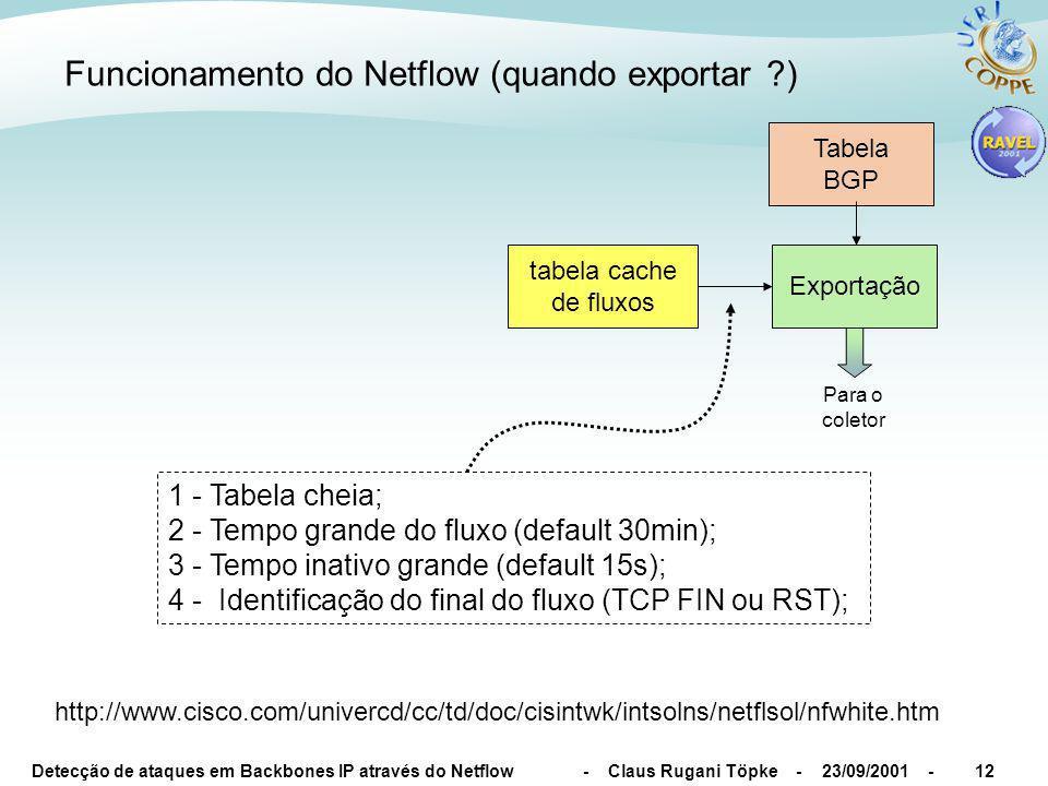 Detecção de ataques em Backbones IP através do Netflow - Claus Rugani Töpke - 23/09/2001 -12 Funcionamento do Netflow (quando exportar ) tabela cache de fluxos Exportação Para o coletor 1 - Tabela cheia; 2 - Tempo grande do fluxo (default 30min); 3 - Tempo inativo grande (default 15s); 4 - Identificação do final do fluxo (TCP FIN ou RST); http://www.cisco.com/univercd/cc/td/doc/cisintwk/intsolns/netflsol/nfwhite.htm Tabela BGP