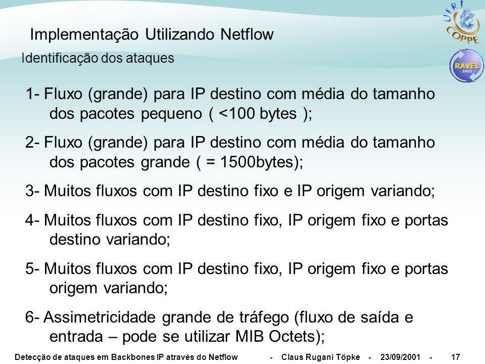 Detecção de ataques em Backbones IP através do Netflow - Claus Rugani Töpke - 23/09/2001 -17 Implementação Utilizando Netflow Identificação dos ataques 1- Fluxo (grande) para IP destino com média do tamanho dos pacotes pequeno ( <100 bytes ); 2- Fluxo (grande) para IP destino com média do tamanho dos pacotes grande ( = 1500bytes); 3- Muitos fluxos com IP destino fixo e IP origem variando; 4- Muitos fluxos com IP destino fixo, IP origem fixo e portas destino variando; 5- Muitos fluxos com IP destino fixo, IP origem fixo e portas origem variando; 6- Assimetricidade grande de tráfego (fluxo de saída e entrada – pode se utilizar MIB Octets);