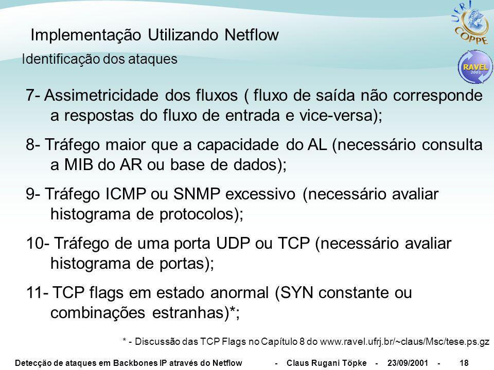 Detecção de ataques em Backbones IP através do Netflow - Claus Rugani Töpke - 23/09/2001 -18 Implementação Utilizando Netflow Identificação dos ataque