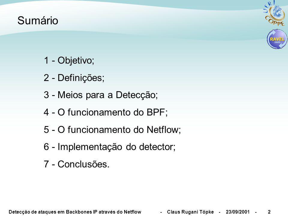 Detecção de ataques em Backbones IP através do Netflow - Claus Rugani Töpke - 23/09/2001 -2 Sumário 1 - Objetivo; 2 - Definições; 3 - Meios para a Det