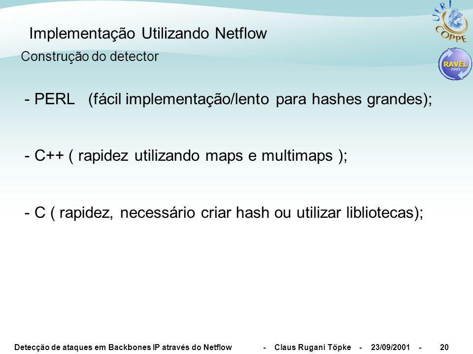 Detecção de ataques em Backbones IP através do Netflow - Claus Rugani Töpke - 23/09/2001 -20 Implementação Utilizando Netflow - PERL (fácil implementa
