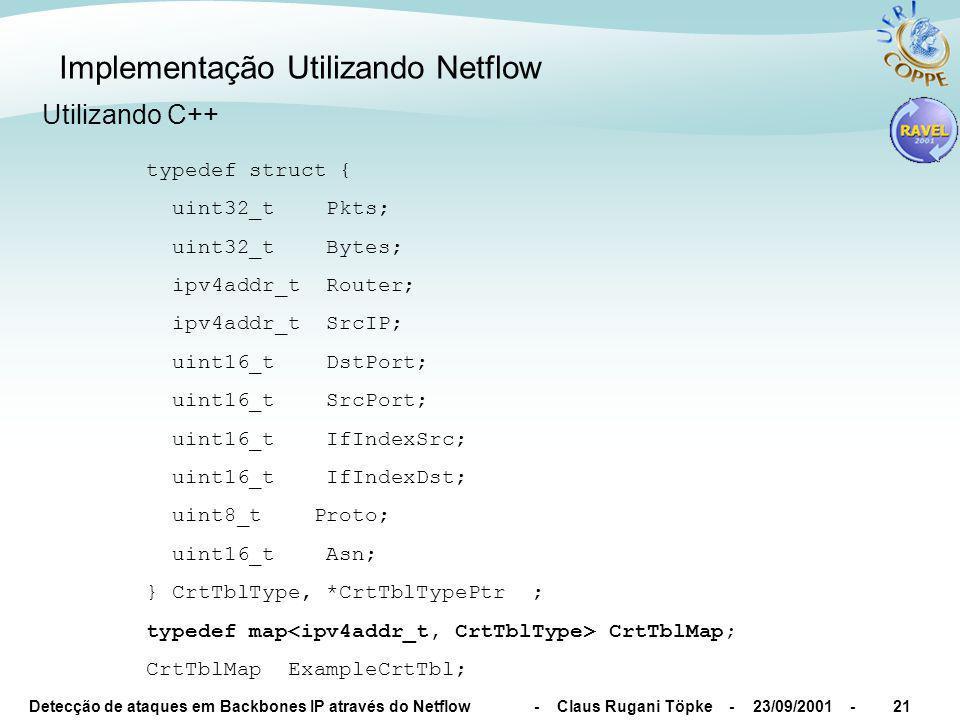 Detecção de ataques em Backbones IP através do Netflow - Claus Rugani Töpke - 23/09/2001 -21 Implementação Utilizando Netflow typedef struct { uint32_