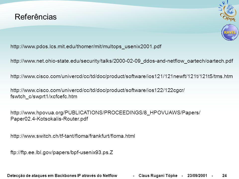 Detecção de ataques em Backbones IP através do Netflow - Claus Rugani Töpke - 23/09/2001 -24 http://www.pdos.lcs.mit.edu/thomer/mit/multops_usenix2001