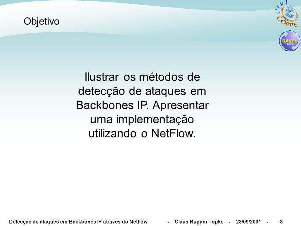 Detecção de ataques em Backbones IP através do Netflow - Claus Rugani Töpke - 23/09/2001 -3 Objetivo Ilustrar os métodos de detecção de ataques em Backbones IP.