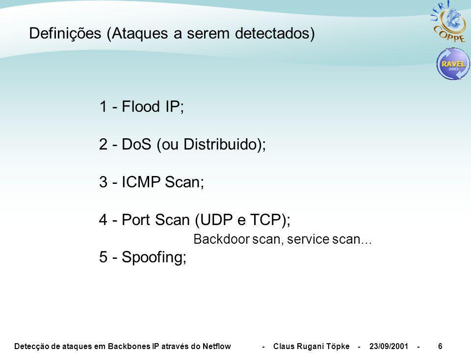 Detecção de ataques em Backbones IP através do Netflow - Claus Rugani Töpke - 23/09/2001 -6 Definições (Ataques a serem detectados) 1 - Flood IP; 2 - DoS (ou Distribuido); 3 - ICMP Scan; 4 - Port Scan (UDP e TCP); Backdoor scan, service scan...