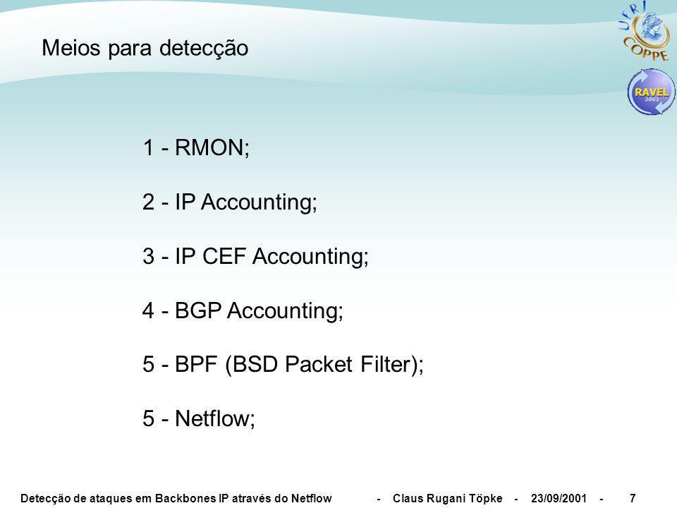Detecção de ataques em Backbones IP através do Netflow - Claus Rugani Töpke - 23/09/2001 -7 Meios para detecção 1 - RMON; 2 - IP Accounting; 3 - IP CEF Accounting; 4 - BGP Accounting; 5 - BPF (BSD Packet Filter); 5 - Netflow;