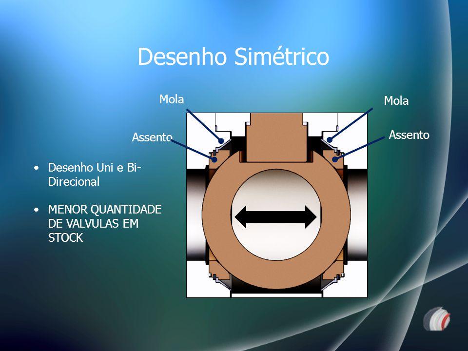 Assento Mola Desenho Uni e Bi- Direcional MENOR QUANTIDADE DE VALVULAS EM STOCK Desenho Simétrico